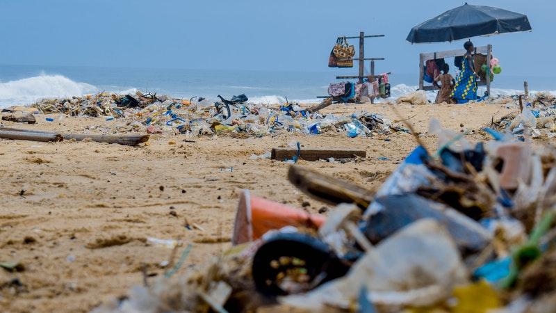 beach with rubbish